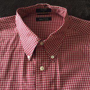 Nautica Red Small Plaid Buttoned down Shirt XL